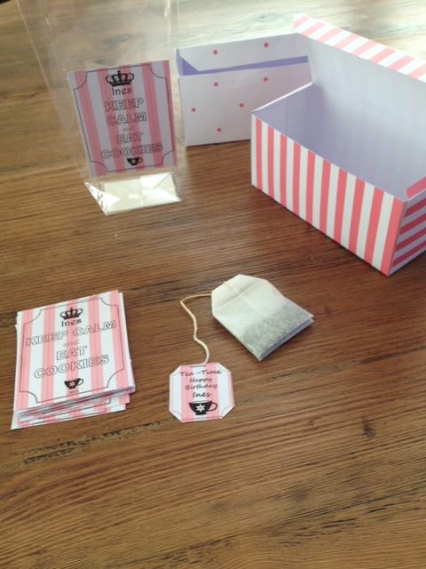 printed tags and homemade teabag box